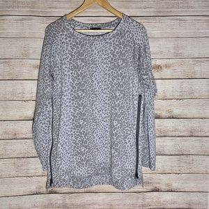 Stella & Dot Zip Pullover - Grey Leopard - Medium